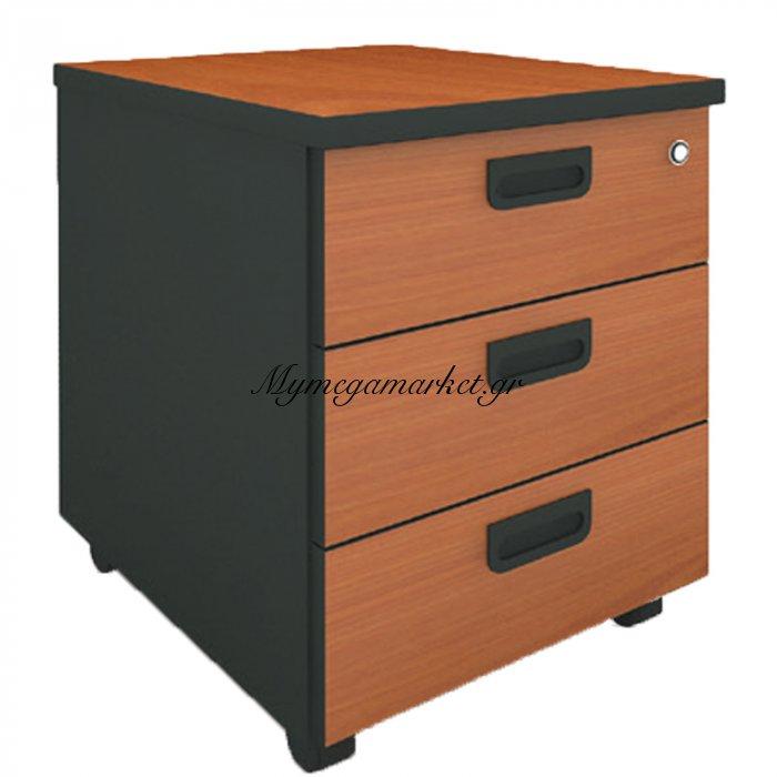 Συρταριέρα τροχήλατη 3συρτ.μαύρο-κερασί χρώμα 40x48x56 | Mymegamarket.gr