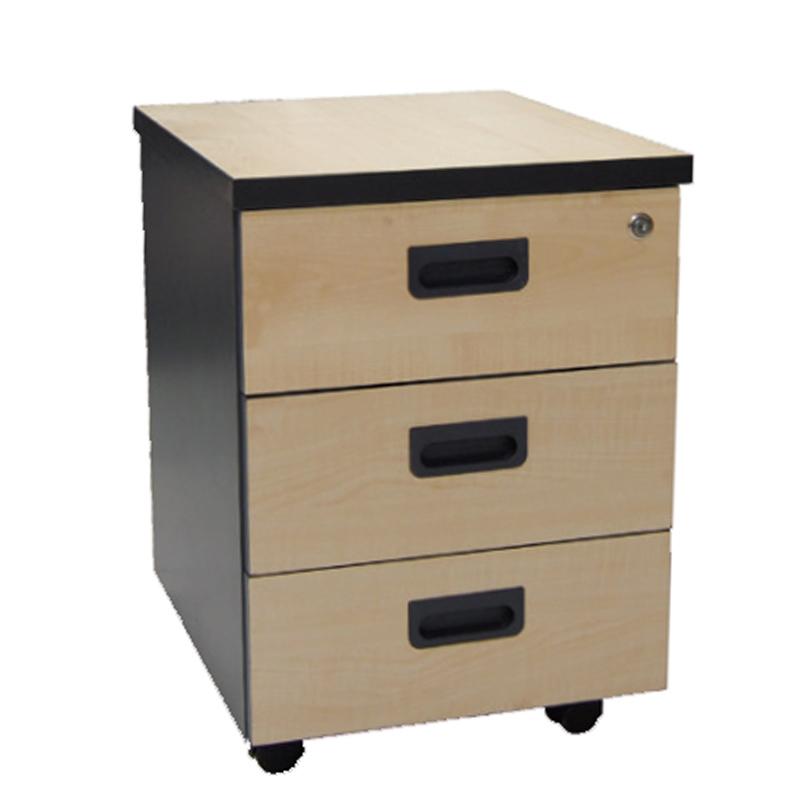 Συρταριέρα τροχήλατη μαύρο-φυσικό χρώμα 3 συρτ.40x48x56