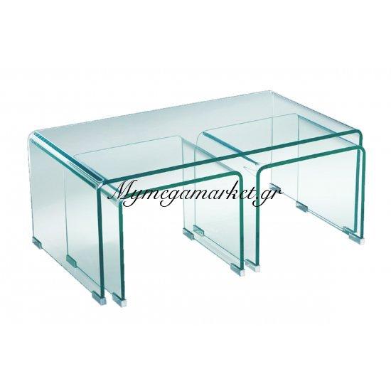 Glasser Clear Τραπ.σαλ.(+2 Βοηθ) Γυαλί 12Mm 90X50X38Cm Στην κατηγορία Βοηθητικά τραπεζάκια σαλονιού | Mymegamarket.gr