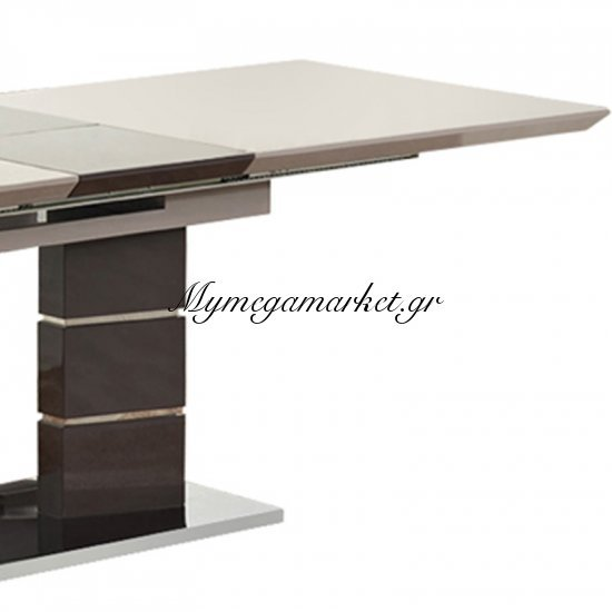 Tραπέζι inox Leonardo champagne επιφάνειας MDF 180+(40)x90x76 Στην κατηγορία Τραπέζια - Τραπεζαρίες | Mymegamarket.gr