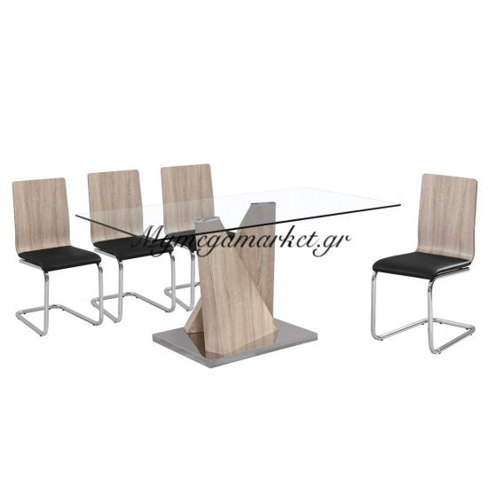 Tραπέζι inox Lord απόχρωση σημύδας με γυάλινη επιφάνεια 10mm tempered 150x90x75 Στην κατηγορία Τραπέζια - Τραπεζαρίες   Mymegamarket.gr