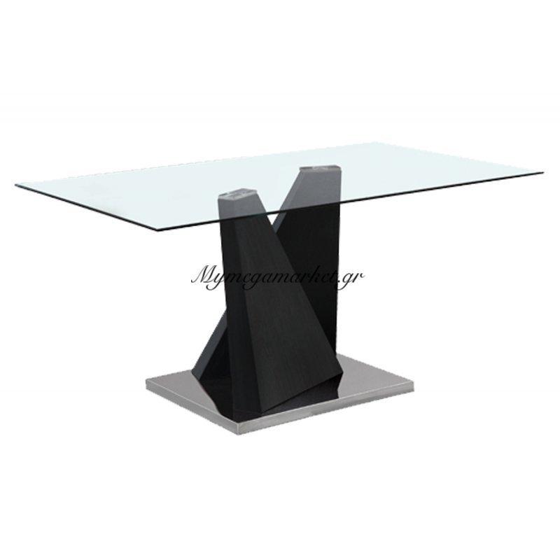 Tραπέζι inox Lord zebrano με γυάλινη επιφάνεια 10mm tempered 150x90x75 by Mymegamarket.gr