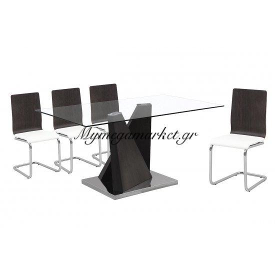 Tραπέζι inox Lord zebrano με γυάλινη επιφάνεια 10mm tempered 150x90x75 Στην κατηγορία Τραπέζια - Τραπεζαρίες | Mymegamarket.gr