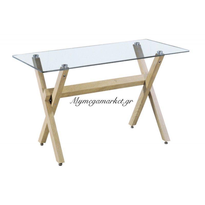 Τραπέζι μεταλλικό Volter χρώμα σημύδας με γυάλινη επιφάνεια 10mm 140x80x75