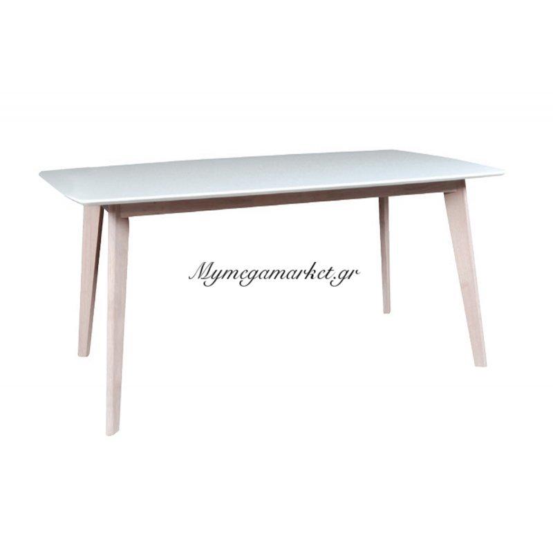 Τραπέζι ξύλινο Calvin ορθογώνιο white wash-λευκό 120x80x75
