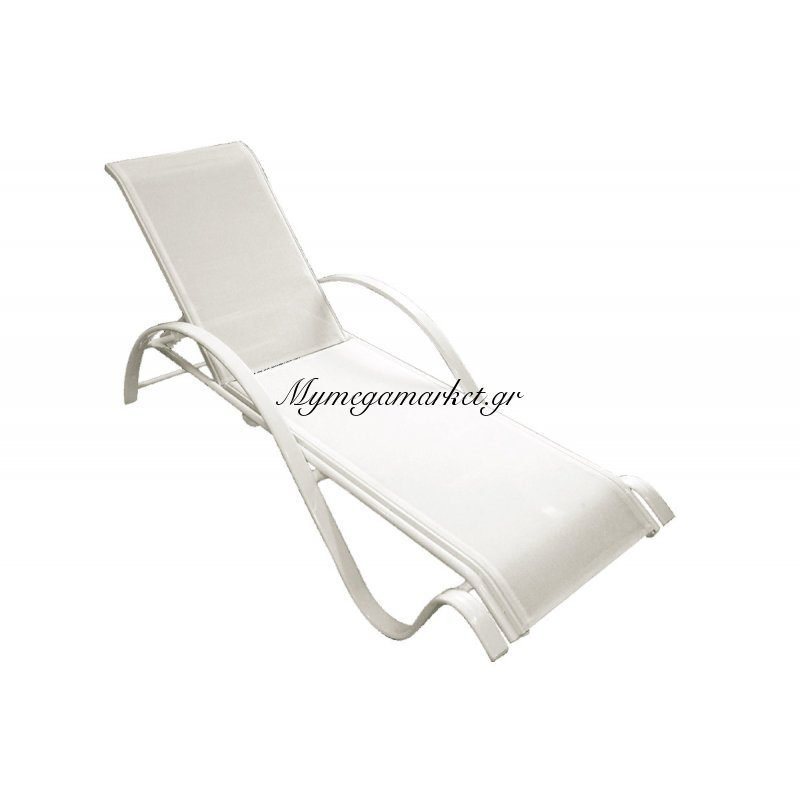Ξαπλώστρα Next αλουμινίου άσπρη επένδυση textilene άσπρο