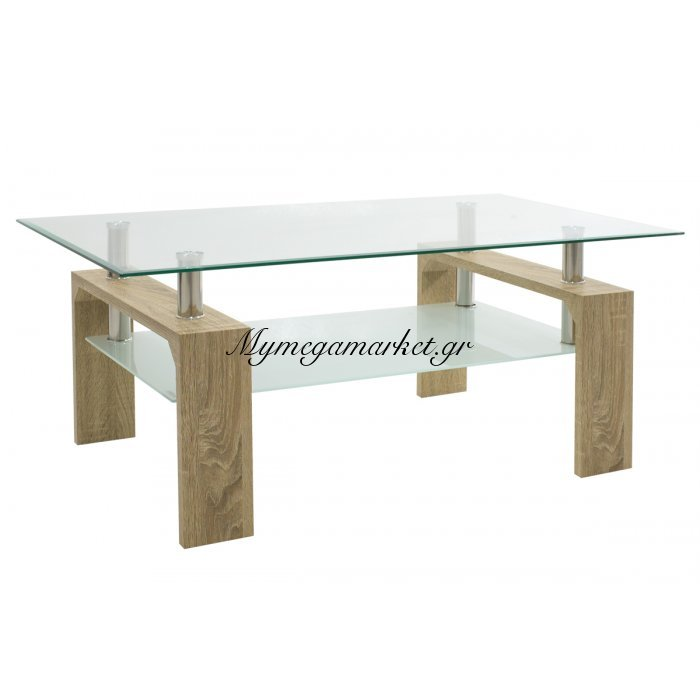 Τραπέζι σαλονιού Maiha ορθογώνιο με επιφάνεια γυάλινη χρώμα sonoma 100x60x42,5 εκ | Mymegamarket.gr
