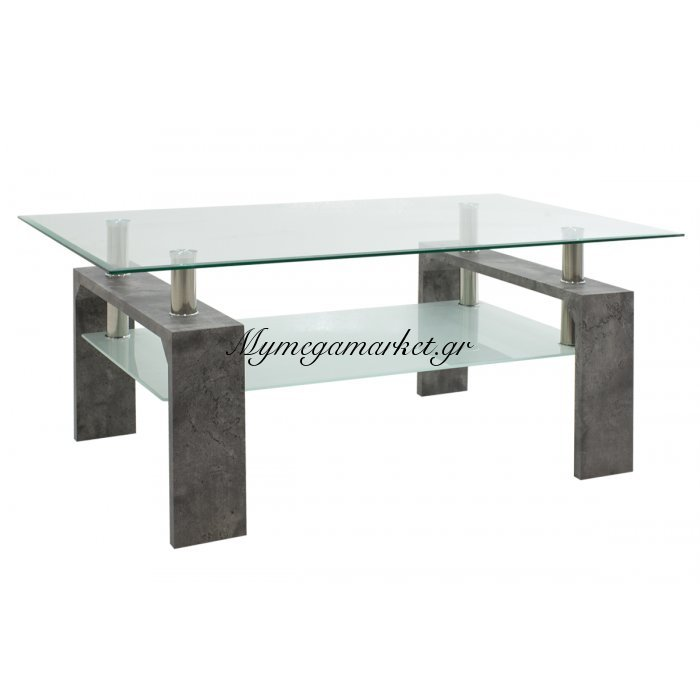 Τραπέζι σαλονιού Maiha ορθογώνιο με επιφάνεια γυάλινη χρώμα γκρι cement 100x60x42,5 εκ | Mymegamarket.gr