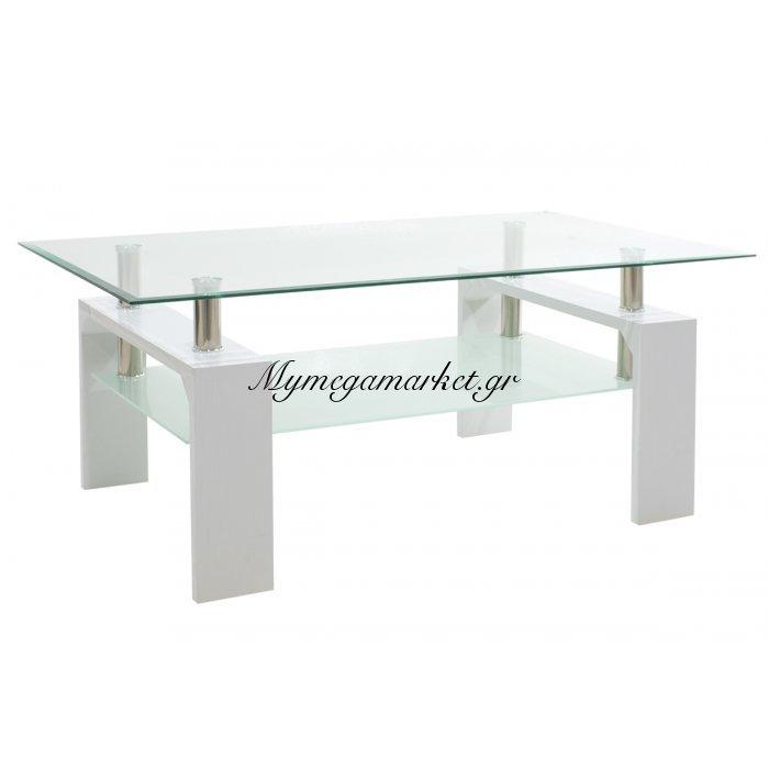 Τραπέζι σαλονιού Maiha ορθογώνιο με επιφάνεια γυάλινη χρώμα λευκό 100x60x42,5 εκ | Mymegamarket.gr