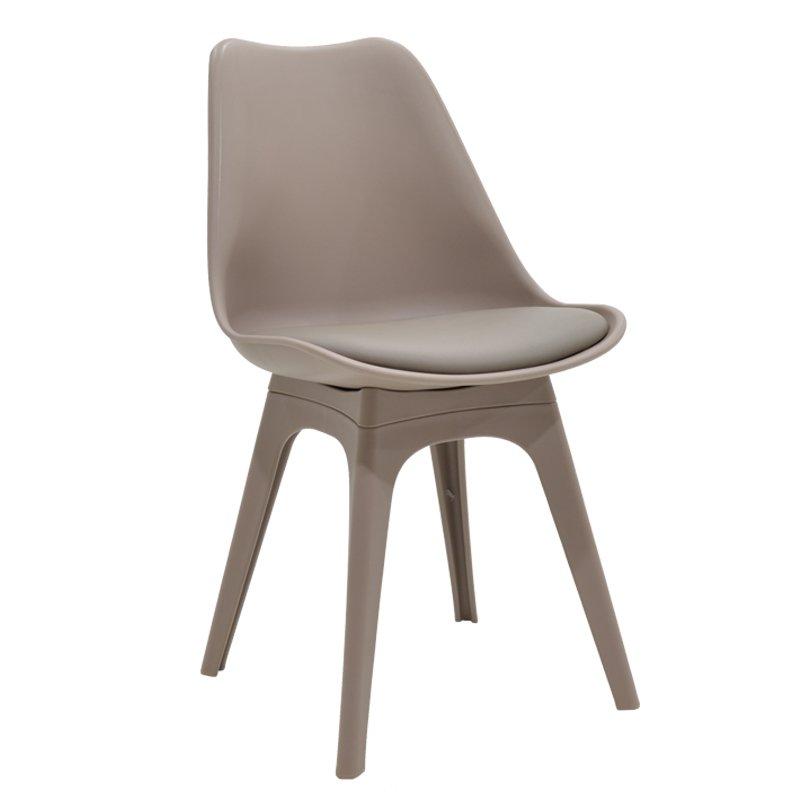 Καρέκλα Gaston πολυπροπυλενίου με PU χρώμα ανοικτό καφέ-μόκα επαγγελματική κατασκευή