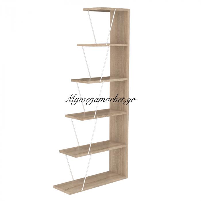 Βιβλιοθήκη mini TARS sonoma χρώματος με λεπτομέρειες σε λευκό 65x22x146 εκ | Mymegamarket.gr