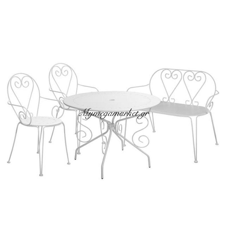 Σετ 4Τμχ Τραπέζι Amore Φ95 & Καρέκλες Amore & Παγκάκι Hm10274