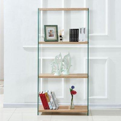 Βιβλιοθήκη Από Γυαλί Και Ράφια Από Mdf 76X30X165Υεκ.hm8092 | Mymegamarket.gr