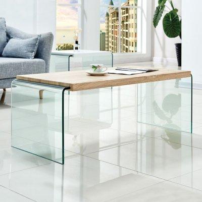 Τραπέζι Σαλονιού 1 Τεμάχιο Γυαλί Κ Mdf Sonama 110Χ55Χ45Υεκ Hm8096 | Mymegamarket.gr