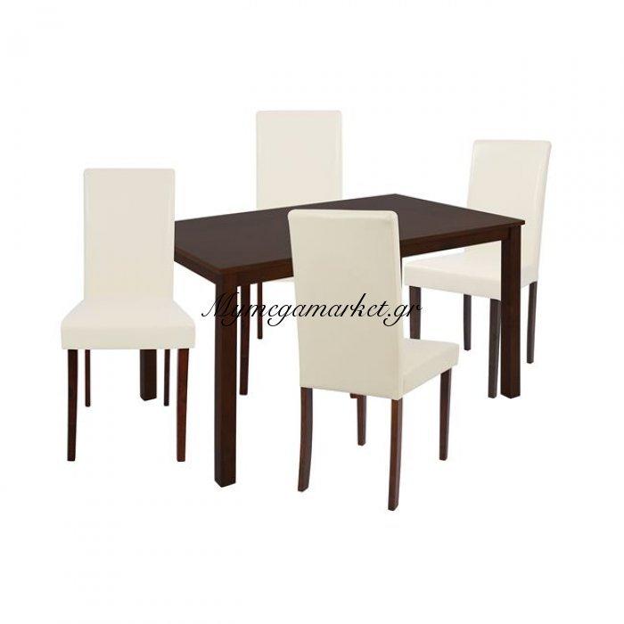 Σετ Τραπεζαρίας 5Τμχ Με Καρυδί Τραπέζι & Καρέκλες Selene Hm10256   Mymegamarket.gr