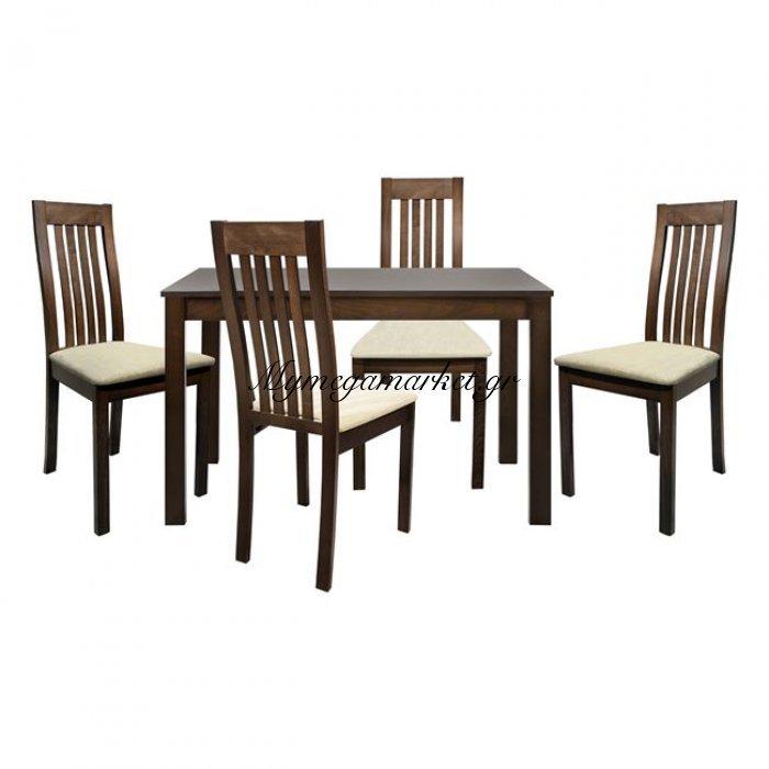 Σέτ Τραπεζαρία 5Τμχ Τραπέζι Ξύλινο & 4 Καρέκλες Καρυδί Hm10043   Mymegamarket.gr