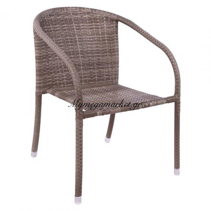 Πολυθρόνα Μεταλλική Με Πλέξη Wicker Λευκή Hm5123.02 | Mymegamarket.gr