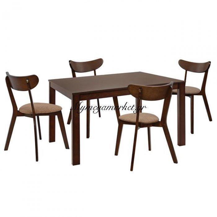 Σετ Τραπεζαριάς 5Τμχ Καρέκλες Roselyn & Τραπέζι Καρυδί Hm10277   Mymegamarket.gr