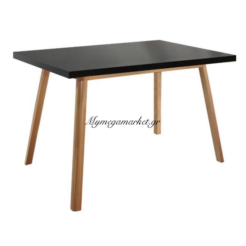 Τραπέζι Vegas Μαύρο T100 120 x 80 Με Ξύλινα Πόδια Οξιά