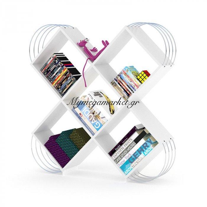 Βιβλιοθήκη Case σε χρώμα λευκό με λεπτομέρειες χρωμίου 120x25x120 εκ. | Mymegamarket.gr