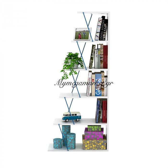 Βιβλιοθήκη mini TARS λευκού χρώματος με μπλε λεπτομέρειες 65x22x146εκ | Mymegamarket.gr