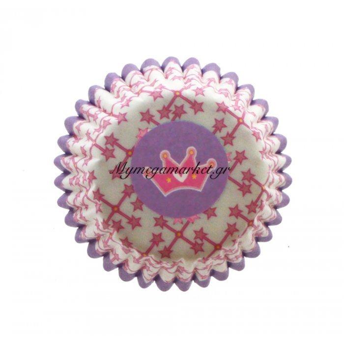 Φορμάκια χάρτινα σέτ 100τμχ. Μώβ με σχέδιο στέμα 7 cm | Mymegamarket.gr