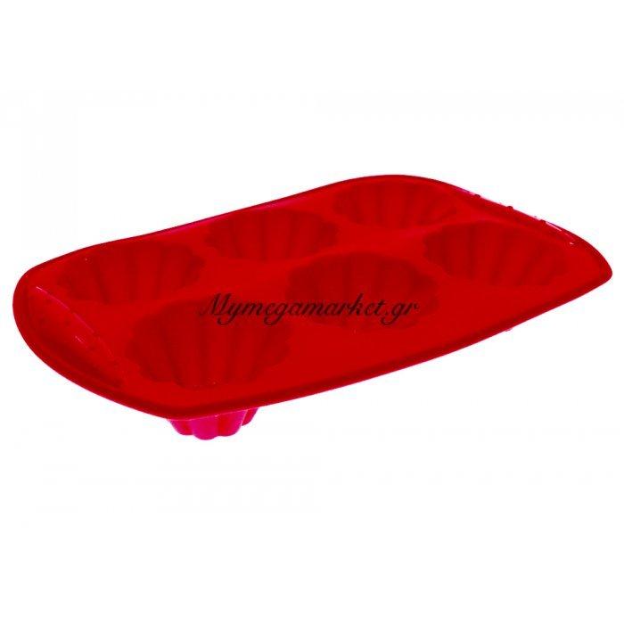 Φόρμα σιλικόνης muffins 6 θέσεων κόκκινη - Splastic | Mymegamarket.gr