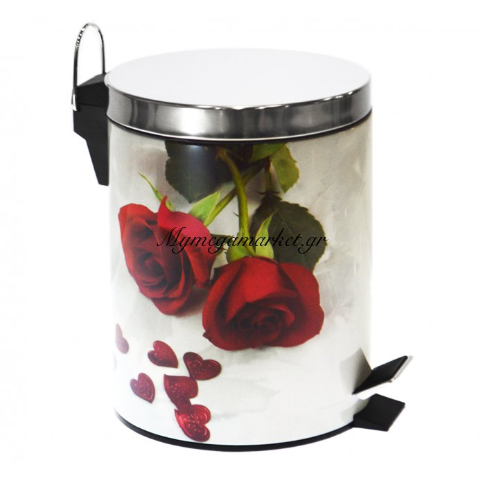 Κάδος μπάνιου με πεντάλ - Σχέδιο τριαντάφυλλα κόκκινα - Stainless Steel | Mymegamarket.gr