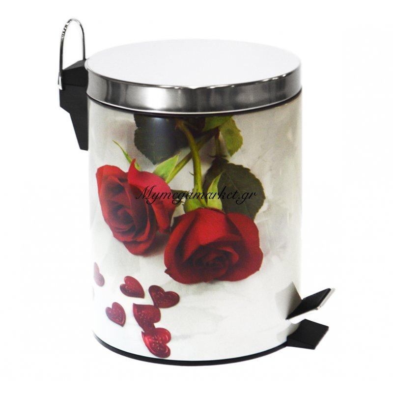 Κάδος μπάνιου με πεντάλ - Σχέδιο τριαντάφυλλα κόκκινα - Stainless Steel