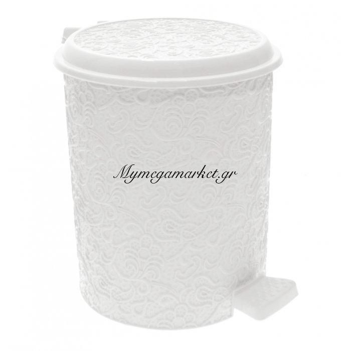 Κάδος μπάνιου 11 ltr με πεντάλ - Decor δαντέλα λευκό - Elif   Mymegamarket.gr