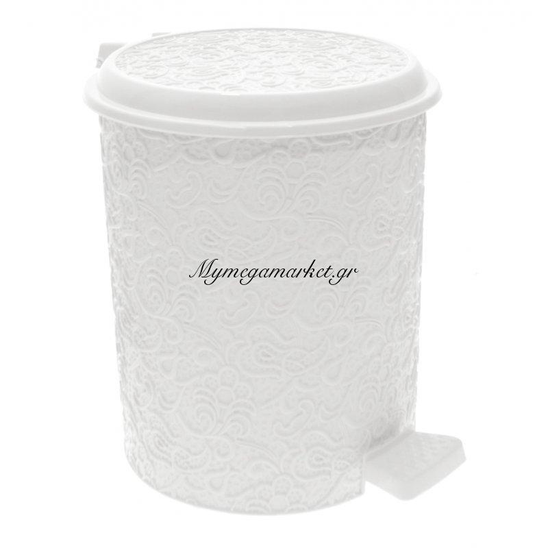 Κάδος μπάνιου 11 ltr με πεντάλ - Decor δαντέλα λευκό - Elif