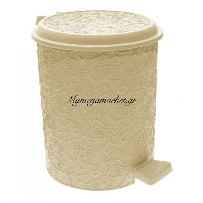 Κάδος μπάνιου 7 ltr με πεντάλ - Decor δαντέλα μπέζ - Elif   Mymegamarket.gr