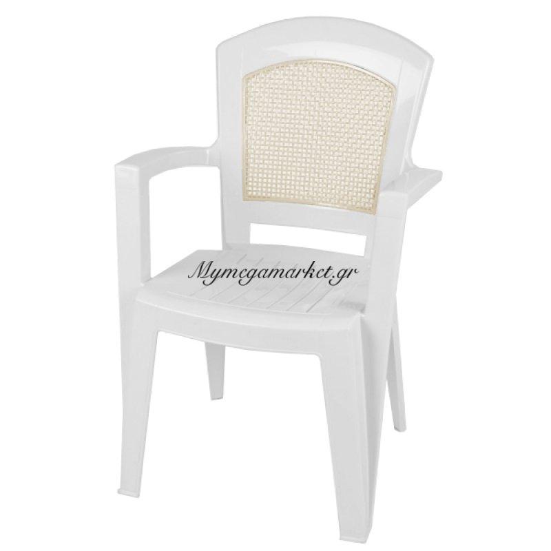 """Ελληνική καρέκλα πλαστική με μπράτσα """"Αφροδίτη"""" λευκή - 0137"""