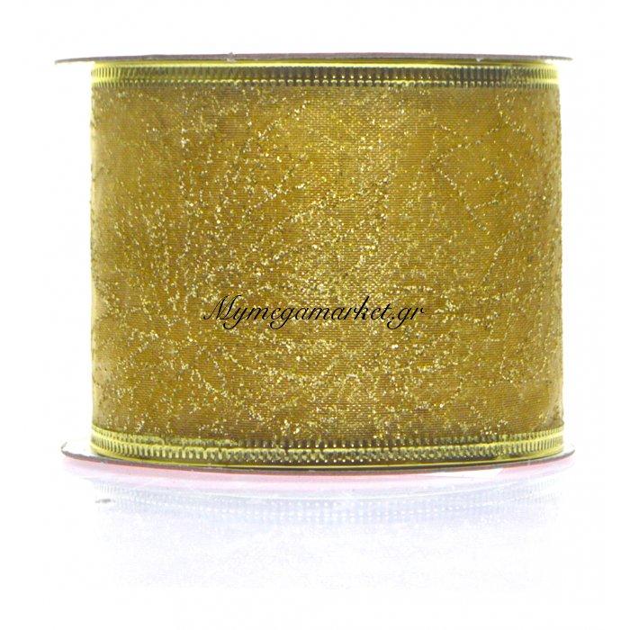 Κορδέλα υφασμάτινη χρυσή 5 m με σχέδιο λουλούδια | Mymegamarket.gr