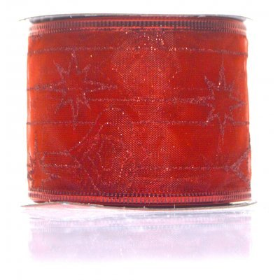 Κορδέλα υφασμάτινη κόκκινη 5 m με σχέδιο
