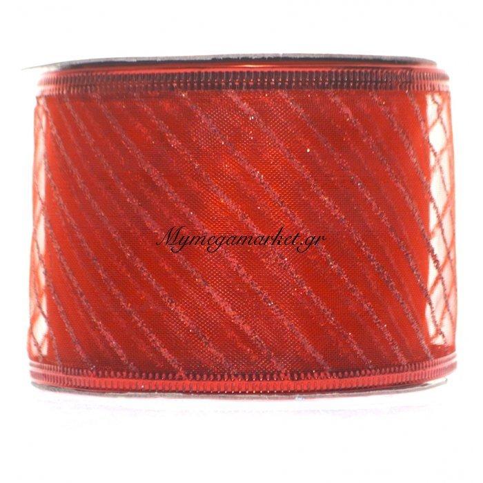 Κορδέλα υφασμάτινη κόκκινη 5 m με σχέδιο γραμμές | Mymegamarket.gr