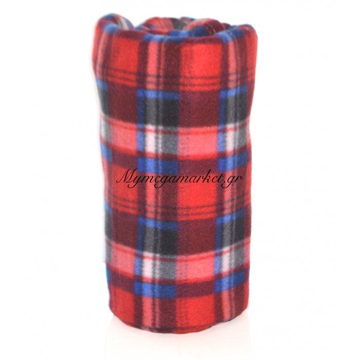 Κουβέρτα φλίς μονή 150 x 200 cm - Καρώ κόκκινο | Mymegamarket.gr
