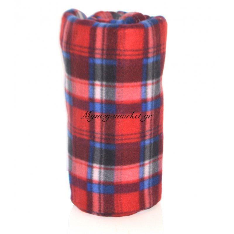 Κουβέρτα φλίς μονή 150 x 200 cm - Καρώ κόκκινο