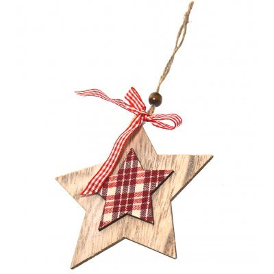 Κρεμαστό αστέρι ξύλινο με καρώ ύφασμα