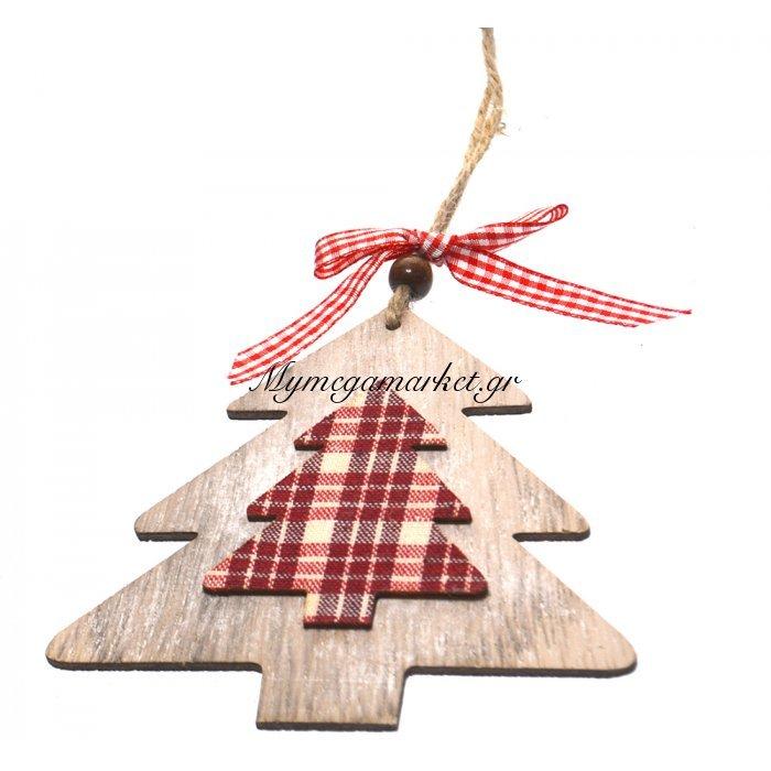 Κρεμαστό δεντράκι ξύλινο με καρώ ύφασμα | Mymegamarket.gr