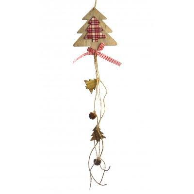 Κρεμαστό δεντράκι ξύλινο με σχοινιά με καρώ φιόγκο