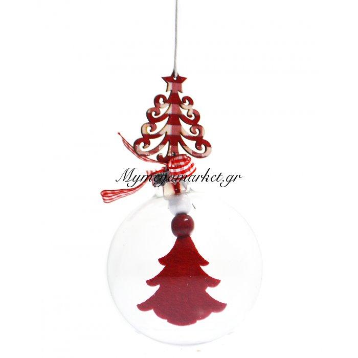 Μπάλα χριστουγεννιάτικη plexiglass με κόκκινο δέντρο | Mymegamarket.gr