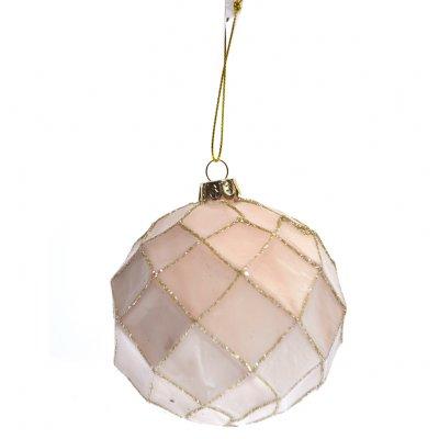 Μπάλα χριστουγεννιάτικη σομόν με σχήμα ρόμβους