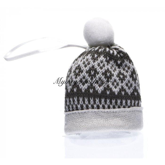 Σκουφάκι υφασμάτινο κρεμαστό γκρί - Λευκό | Mymegamarket.gr