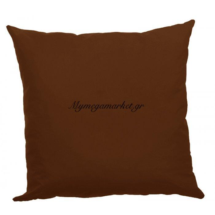 Μαξιλάρα δαπέδου καφέ- Κρετόν ύφασμα 70 x 70 cm | Mymegamarket.gr