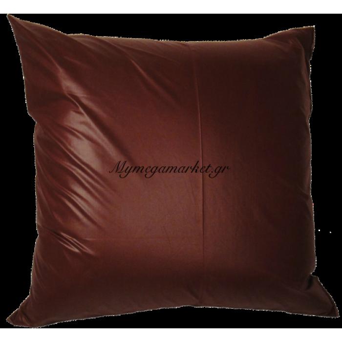 Μαξιλάρα δαπέδου πολυεστέρας τζίν σε μπορντώ απόχρωση 70x70 cm | Mymegamarket.gr