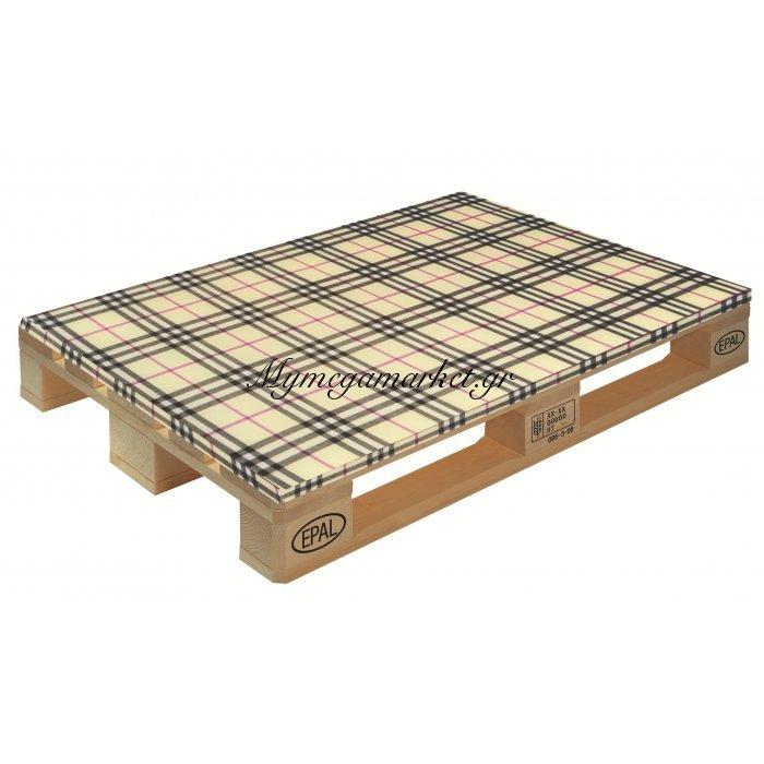 Μαξιλάρι εμπριμέ καρώ σχέδιο μπέζ  για παλέτα και ευρωπαλέτα 5cm | Mymegamarket.gr