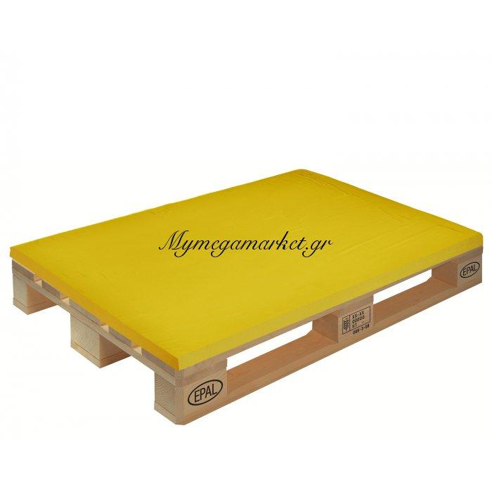 Μαξιλάρι μονόχρωμο κίτρινο ύφασμα λονέτα για παλέτα και ευρωπαλέτα 5cm | Mymegamarket.gr