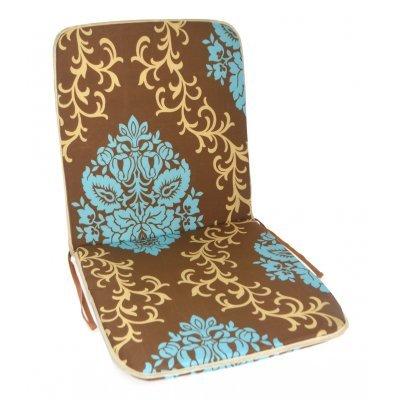 Μαξιλάρι καρέκλας με πλάτη καφέ - Γαλάζια λουλούδια 90 x 45 cm