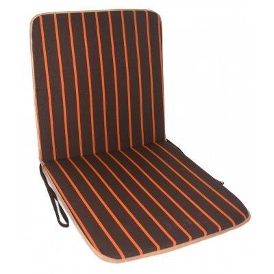 Μαξιλάρι καρέκλας με πλάτη καφέ με πορτοκαλί ρίγες 100 x 45 cm